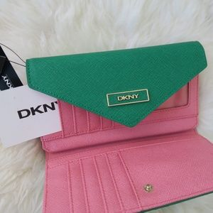 DKNY green pink trifold envelop saffiano wallet